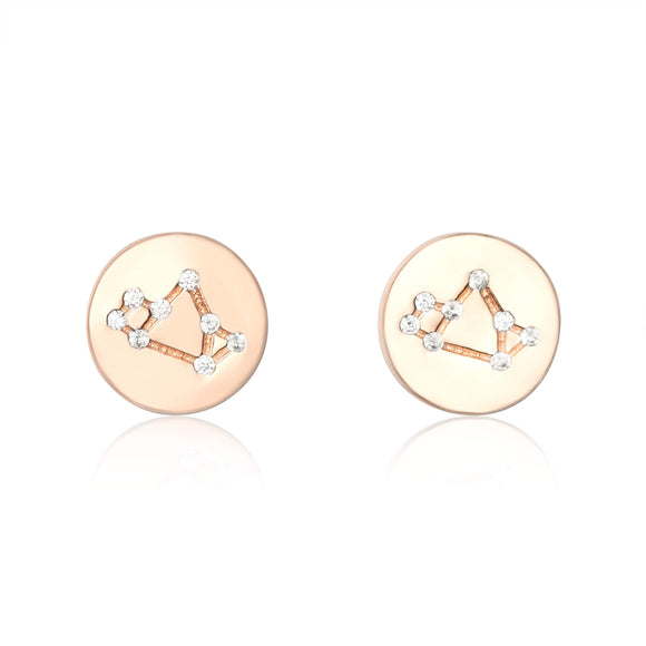 EZ-7073 Zodiac Constellation CZ Disc Stud Earrings - Rose Gold Plated - Sagittarius | Teeda
