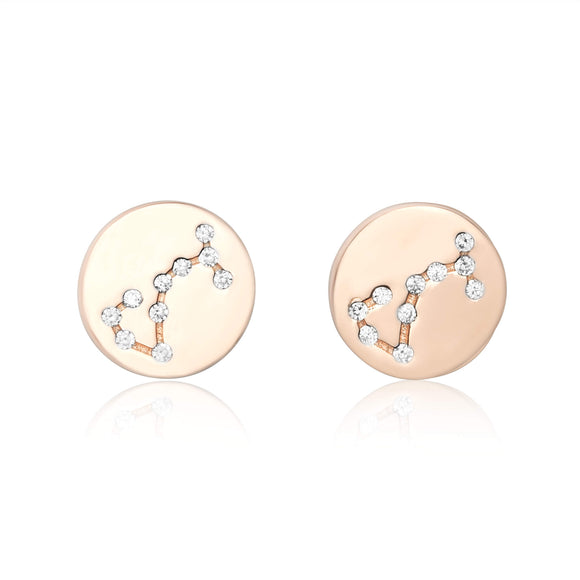 EZ-7073 Zodiac Constellation CZ Disc Stud Earrings - Rose Gold Plated - Scorpio | Teeda