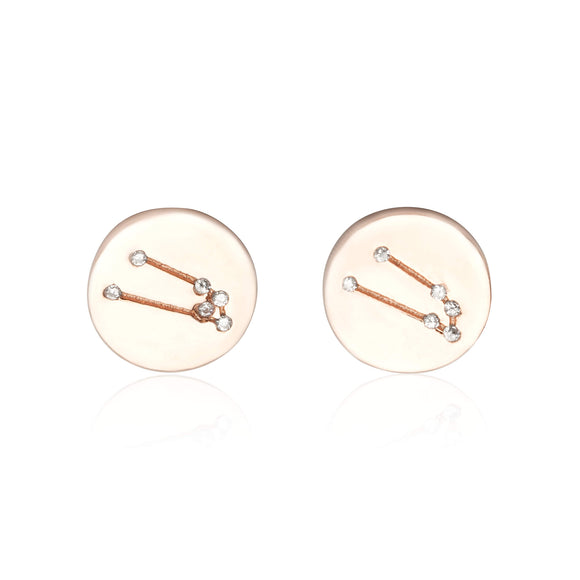 EZ-7073 Zodiac Constellation CZ Disc Stud Earrings - Rose Gold Plated - Taurus | Teeda