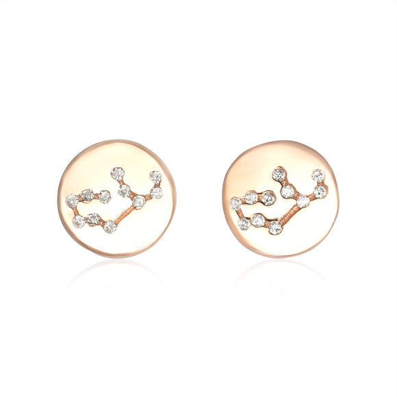 EZ-7073 Zodiac Constellation CZ Disc Stud Earrings - Rose Gold Plated - Virgo | Teeda