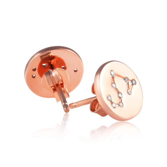 EZ-7073 Zodiac Constellation CZ Disc Stud Earrings - Rose Gold Plated | Teeda
