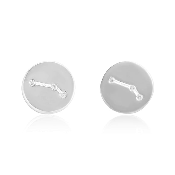 EZ-7073 Zodiac Constellation CZ Disc Stud Earrings - Rhodium Plated - Aries | Teeda