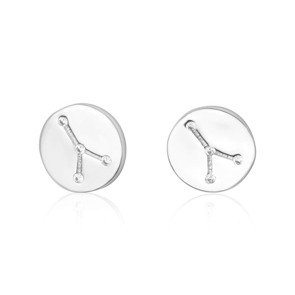 EZ-7073 Zodiac Constellation CZ Disc Stud Earrings - Rhodium Plated - Cancer | Teeda