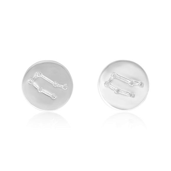 EZ-7073 Zodiac Constellation CZ Disc Stud Earrings - Rhodium Plated - Gemini | Teeda