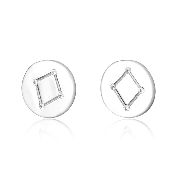EZ-7073 Zodiac Constellation CZ Disc Stud Earrings - Rhodium Plated - Libra | Teeda