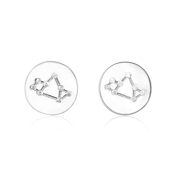EZ-7073 Zodiac Constellation CZ Disc Stud Earrings - Rhodium Plated - Sagittarius | Teeda