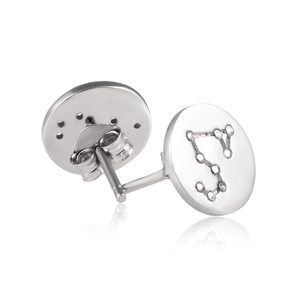 EZ-7073 Zodiac Constellation CZ Disc Stud Earrings - Rhodium Plated | Teeda