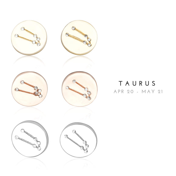 EZ-7073 Taurus Zodiac Constellation CZ Disc Stud Earrings | Teeda