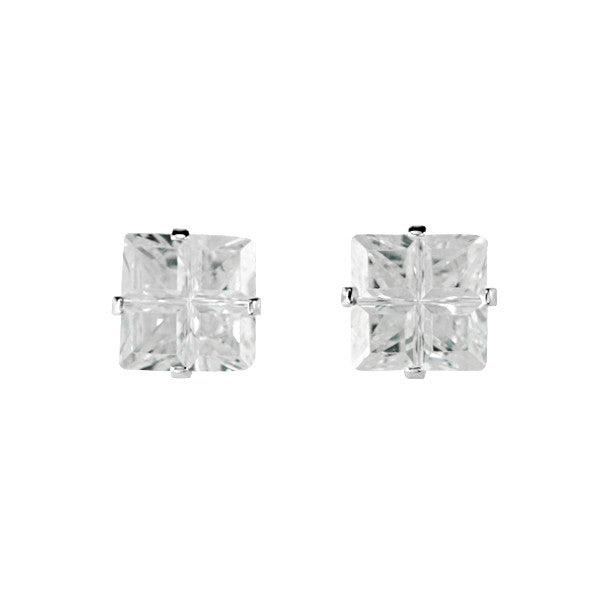 EZ-9000 Invisible Set Square CZ Earrings 5mm | Teeda