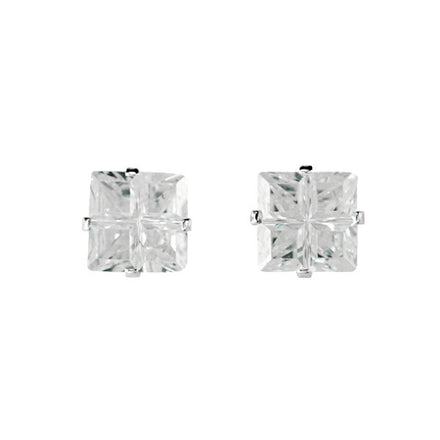 EZ-9010 Invisible Set Square CZ Earrings 6mm | Teeda