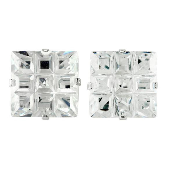 EZ-9022 Invisible Set Square CZ Earrings 8mm | Teeda