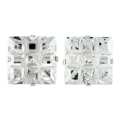 EZ-9024 Invisible Set Square CZ Earrings 9mm | Teeda