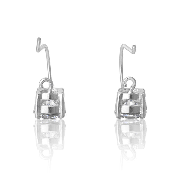 EZ-9050 Round CZ French Hook Drop Earrings