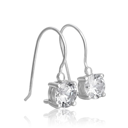 EZ-9050 Round CZ French Hook Drop Earrings | Teeda