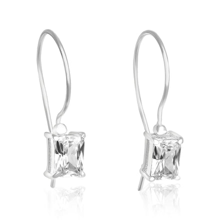 EZ-9070 Emerald Cut CZ French Wire Earrings 7x5mm | Teeda