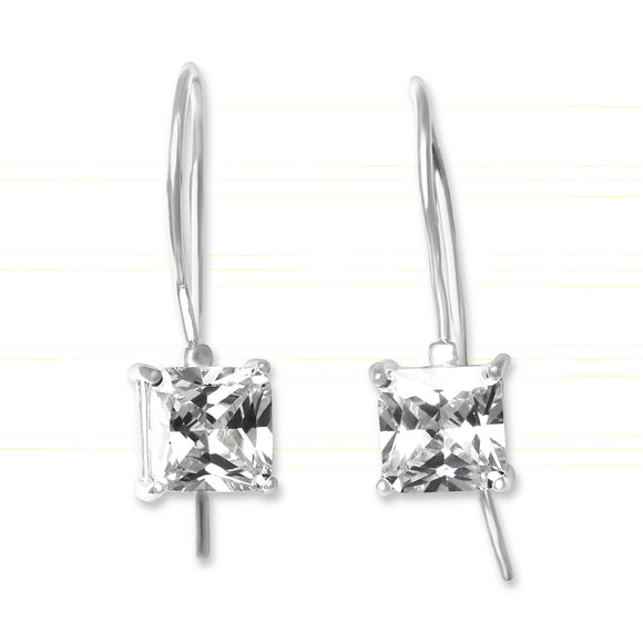EZ-9080 Square Cut CZ French Wire Earrings 7mm