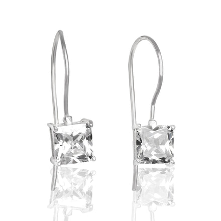 EZ-9080 Square Cut CZ French Wire Earrings 7mm | Teeda