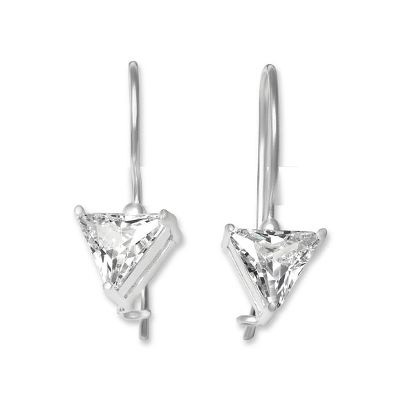 EZ-9090 Triangle Trillion Cut CZ French Wire Earrings 7mm