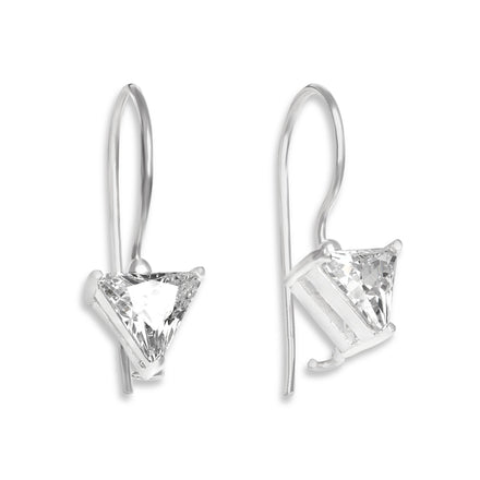 EZ-9090 Triangle Trillion Cut CZ French Wire Earrings 7mm | Teeda
