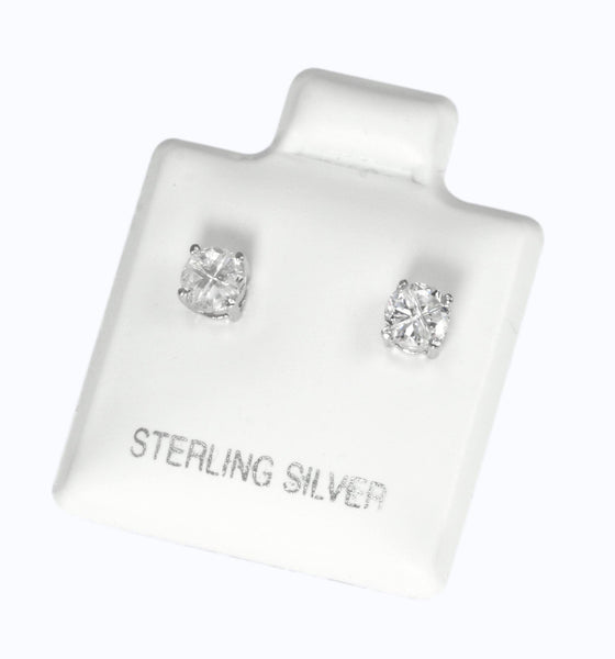 EZBIR-040 Invisible Set Round CZ Stud Earrings Basket Setting 4mm