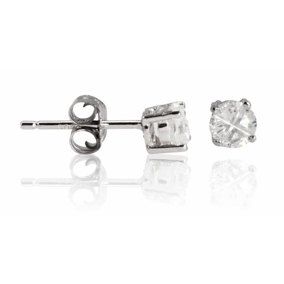 EZBIR-040 Invisible Set Round CZ Stud Earrings Basket Setting 4mm | Teeda