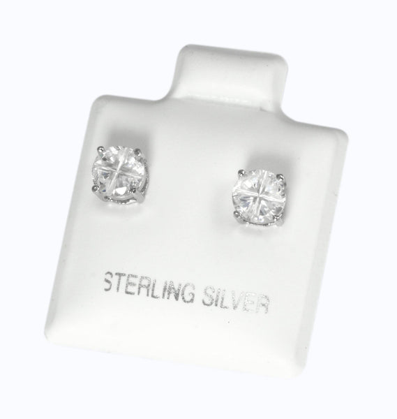 EZBIR-050 Invisible Set Round CZ Stud Earrings Basket Setting 5mm
