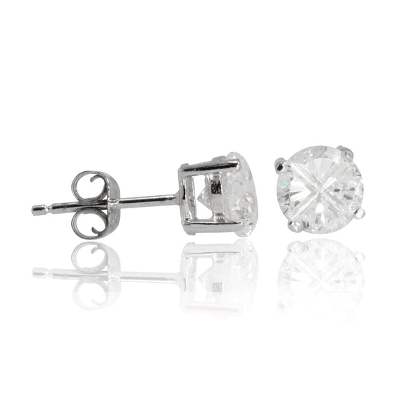 EZBIR-050 Invisible Set Round CZ Stud Earrings Basket Setting 5mm | Teeda
