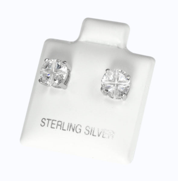 EZBIR-060 Invisible Set Round CZ Stud Earrings Basket Setting 6mm