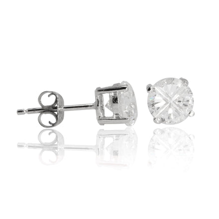 EZBIR-060 Invisible Set Round CZ Stud Earrings Basket Setting 6mm | Teeda