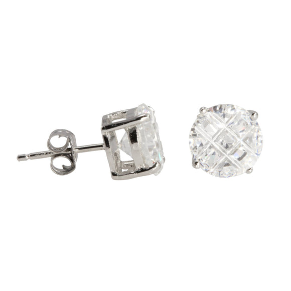 EZBIR-080 Invisible Set Round CZ Stud Earrings Basket Setting 8mm | Teeda