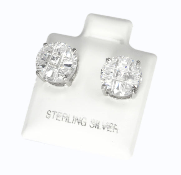EZBIR-090 Invisible Set Round CZ Stud Earrings Basket Setting 9mm