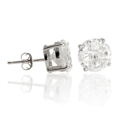 EZBIR-090 Invisible Set Round CZ Stud Earrings Basket Setting 9mm | Teeda