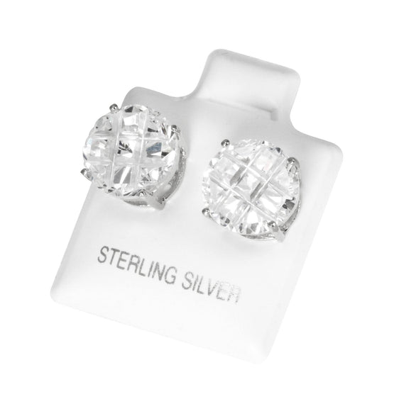 EZBIR-100 Invisible Set Round CZ Stud Earrings Basket Setting 10mm