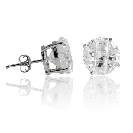 EZBIR-100 Invisible Set Round CZ Stud Earrings Basket Setting 10mm | Teeda
