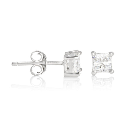 EZBIS-040 Invisible Set Square CZ Stud Earrings Basket Setting 4mm | Teeda
