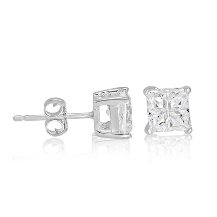 EZBIS-050 Invisible Set Square CZ Stud Earrings Basket Setting 5mm | Teeda