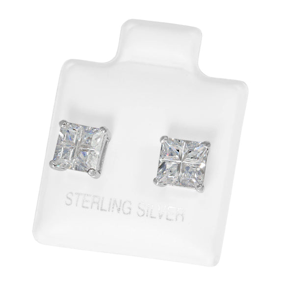 EZBIS-060 Invisible Set Square CZ Stud Earrings Basket Setting 6mm