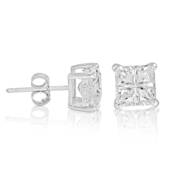 EZBIS-060 Invisible Set Square CZ Stud Earrings Basket Setting 6mm | Teeda