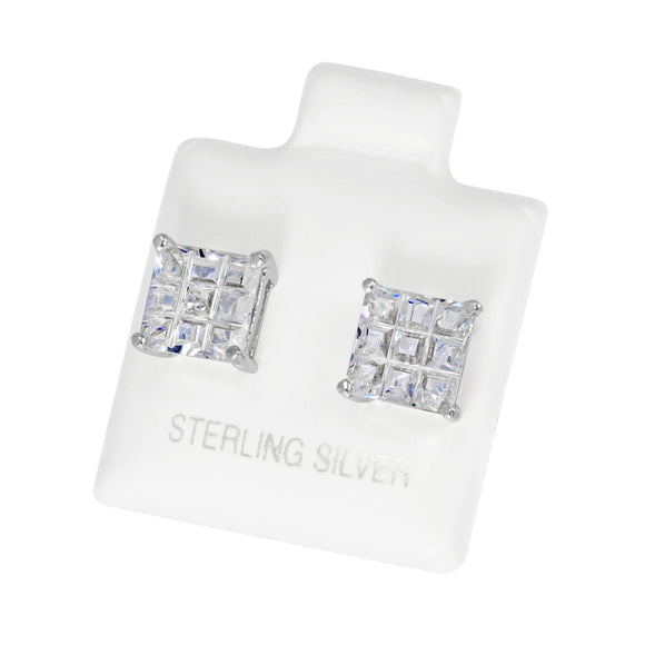 EZBIS-070 Invisible Set Square CZ Stud Earrings Basket Setting 7mm