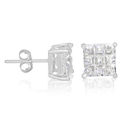 EZBIS-070 Invisible Set Square CZ Stud Earrings Basket Setting 7mm | Teeda