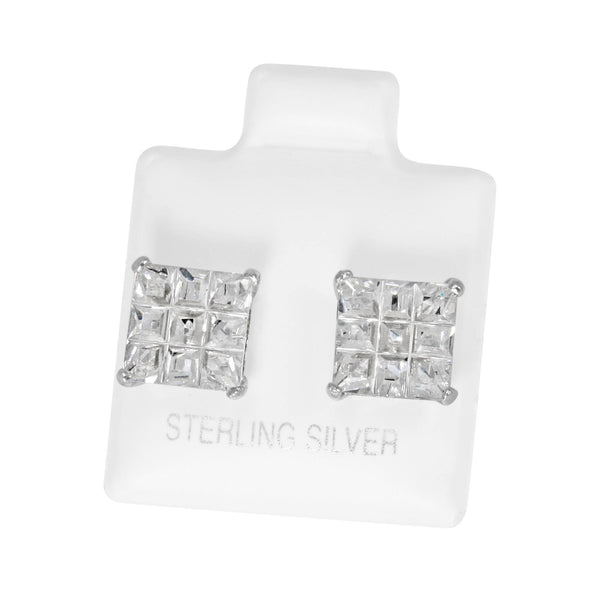 EZBIS-080 Invisible Set Square CZ Stud Earrings Basket Setting 8mm