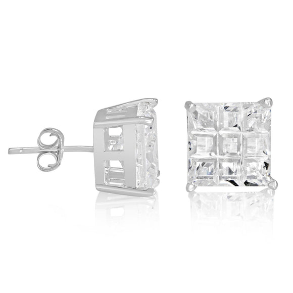 EZBIS-090 Invisible Set Square CZ Stud Earrings Basket Setting 9mm | Teeda