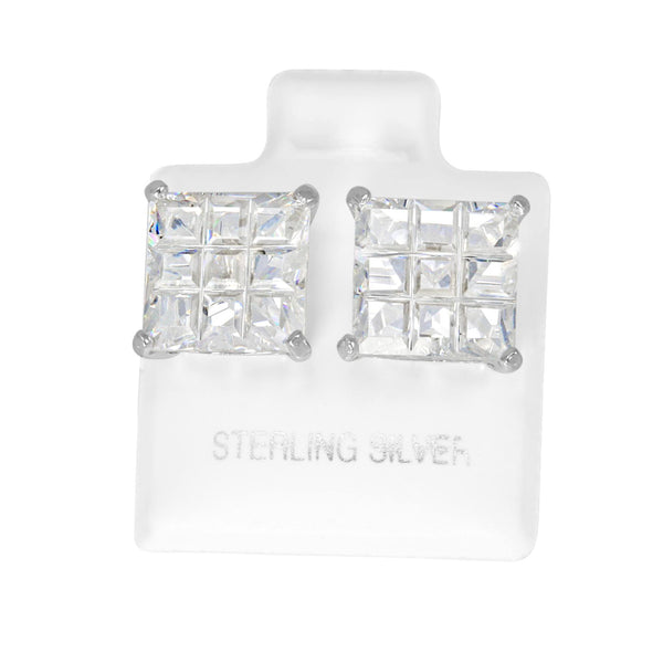 EZBIS-100 Invisible Set Square CZ Stud Earrings Basket Setting 10mm