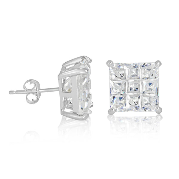EZBIS-100 Invisible Set Square CZ Stud Earrings Basket Setting 10mm | Teeda