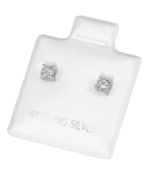 EZBR-030 Round Brilliant Cut Basket Setting CZ Stud Earrings 3mm