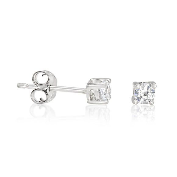 EZBR-030 Round Brilliant Cut Basket Setting CZ Stud Earrings 3mm | Teeda