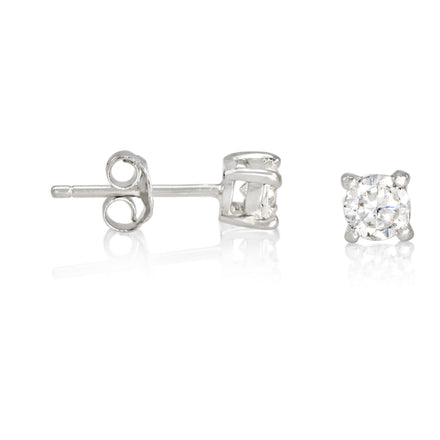 EZBR-040 Round Brilliant Cut Basket Setting CZ Stud Earrings 4mm | Teeda