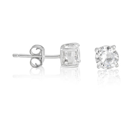 EZBR-050 Round Brilliant Cut Basket Setting CZ Stud Earrings 5mm | Teeda