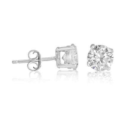 EZBR-060 Round Brilliant Cut Basket Setting CZ Stud Earrings 6mm | Teeda
