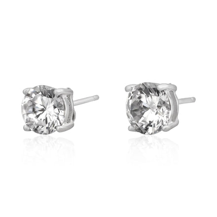 EZBR-070 Round Brilliant Cut Basket Setting CZ Stud Earrings 7mm | Teeda